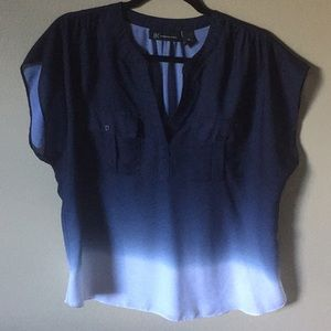 Cute navy blouse with faded bottom